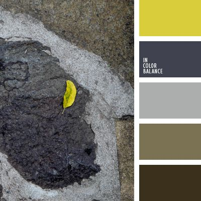 Цветовая палитра №1098 Яркий желтый цвет выигрышно выделяется за счет серого и «пыльного» коричневого цвета. Такое контрастное решение будет хорошо смотреться на кухне. Метки: грязно-коричневый,  сине-серый цвет,  темно-коричневый,  темно-серый  светло-коричневый,  цвет хаки,  ярко-желтый цвет.