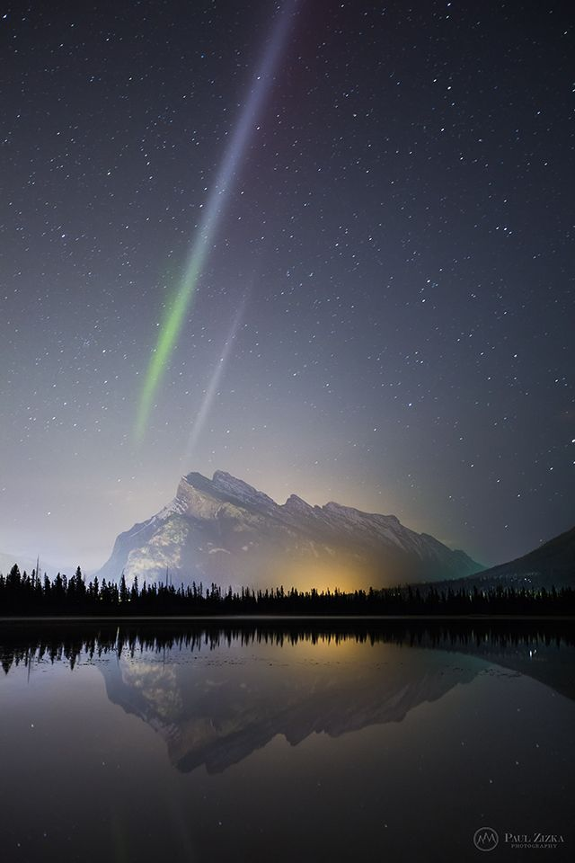 Auroral display over Vermilion Lakes, Banff National Park, Canada