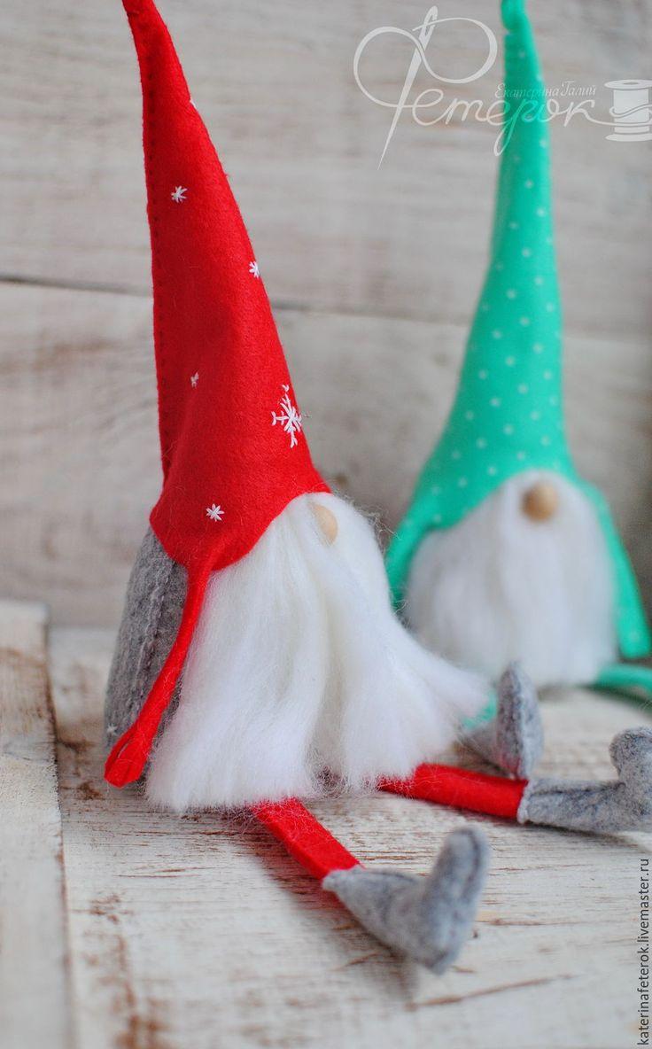 Новогодние гномики из фетра - комбинированный, гномик, гном, из фетра, новогодний подарок, новогодний сувенир