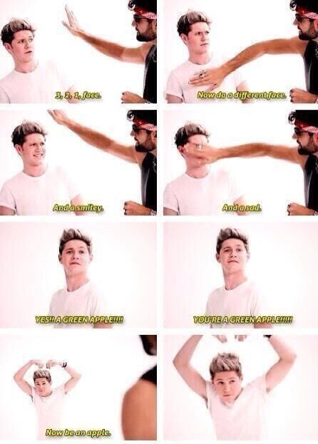 Hahahaha Niall trying to be an apple is accurate in representing me trying to be his wife -HL