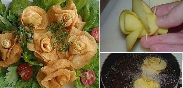 Πώς να φτιάξουμε τηγανιτές πατάτες τριαντάφυλλα! | Φτιάξτο μόνος σου - Κατασκευές DIY - Do it yourself