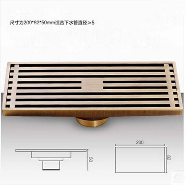 Antique Brass Linear Floor Waste Channel Grate Drainer Shower Drainer 200mm Long - ICON2 Luxury Designer Fixures Antique #Brass #Linear #Floor #Waste #Channel #Grate #Drainer #Shower #Drainer #200mm #Long