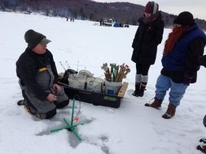 Chuck Kashner practicing what he preaches.  Top Ice Fishing Tips from the Pro