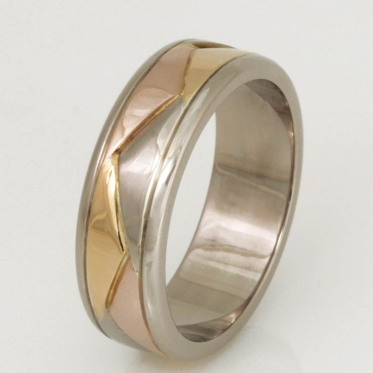 Wedding rings Robert Paul Jewellery - gents 18ct yellow, rose and white gold