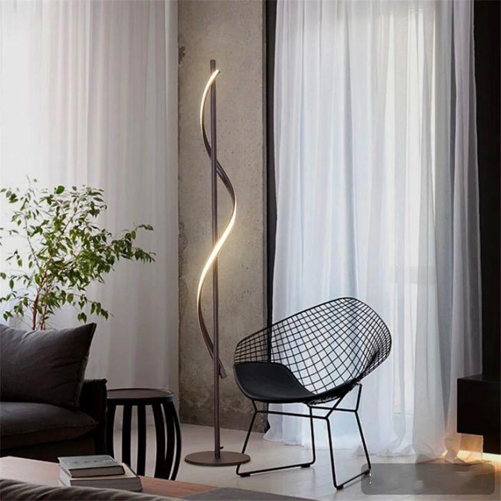 modern led spiral floor lamp dimming bedroom living room