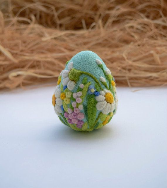 Easter Egg Felted Easter Ornaments Easter by LifeandWool on Etsy