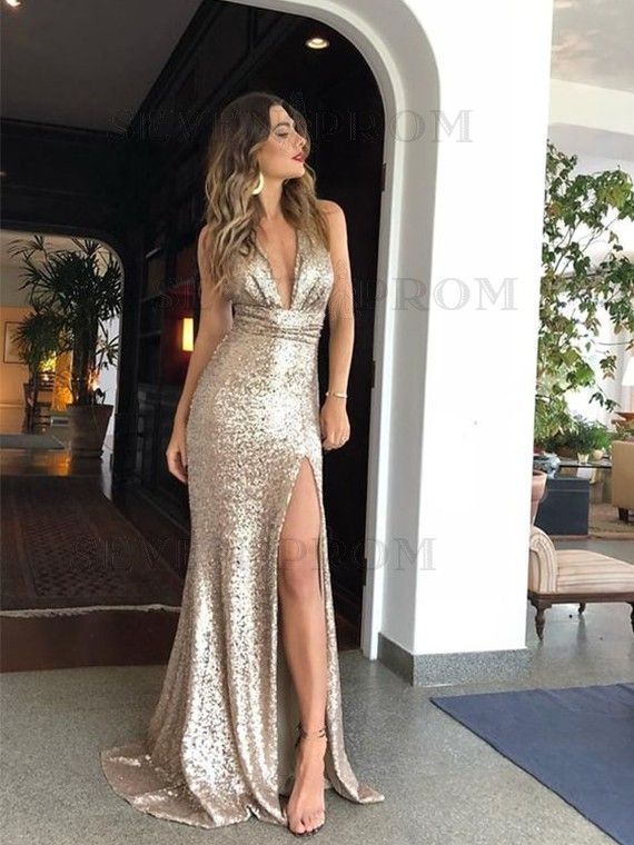 Mermaid Deep V-Neck Long Champagne Prom Dress with Split Sequin Evening Dress 1