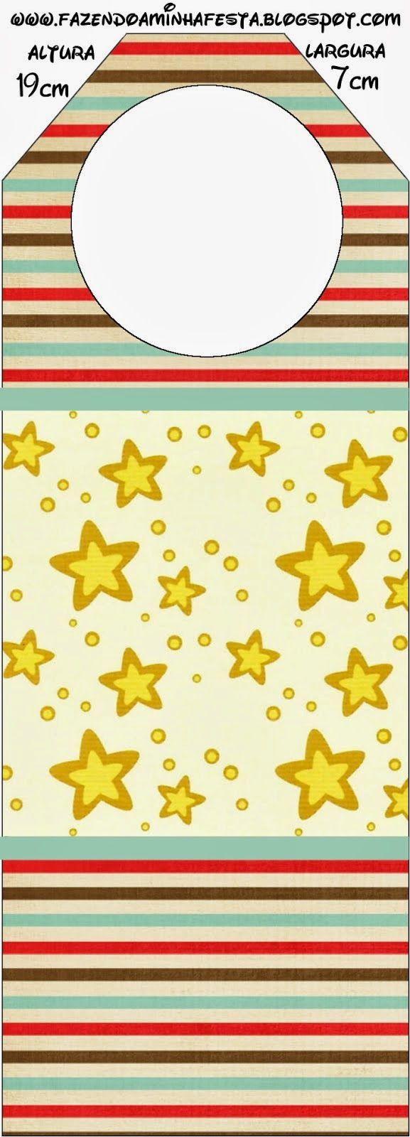 Estrellas Doradas y Rayas de Colores: Imprimibles Gratis para Fiestas.