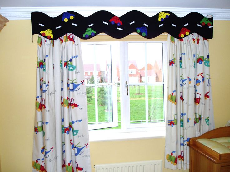 Kids Room Cute Curtains With White Brown And Adorable Motives Hang On The