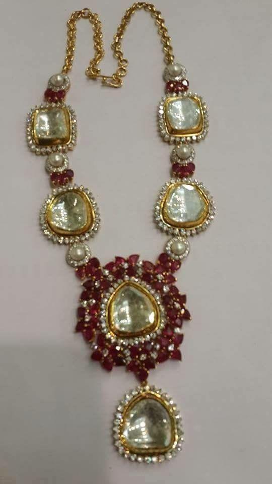 Uncut diamonds with rubies