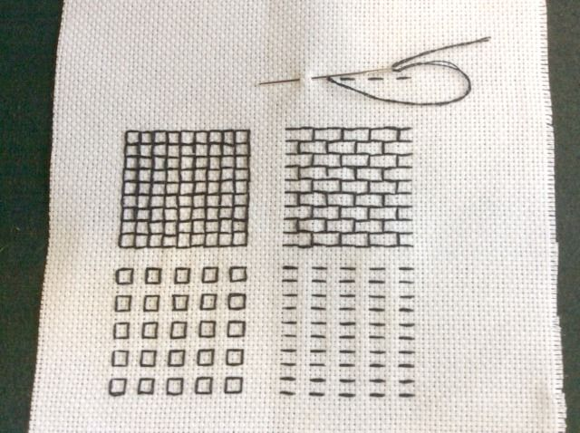Running stitch in blackwork