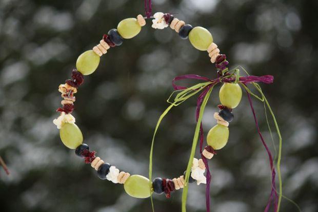 Nature Craft for Kids: DIY Fruit & Grain Bird Feeders