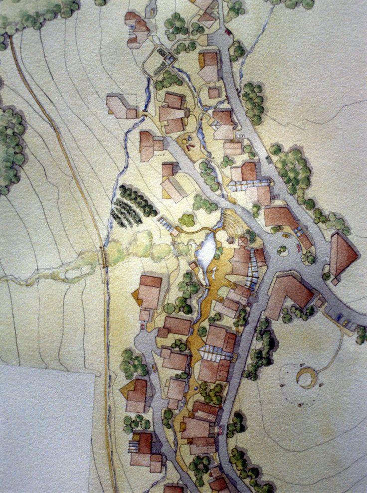 Watercolor of site plan