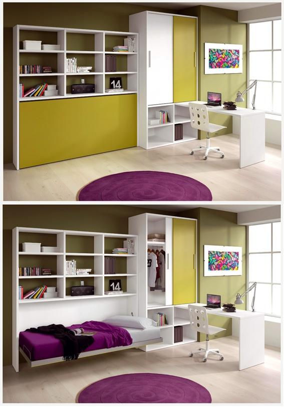 Cama escondida para conseguir m s espacio en la habitaci n for Cama escondida en mueble