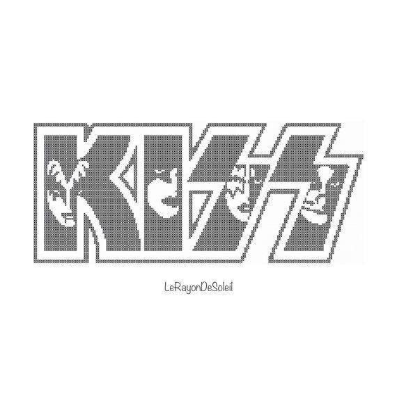 Patrón punto de cruz logo Kiss banda rock Gene Simmons Paul Stanley - PDF descarga inmediata.