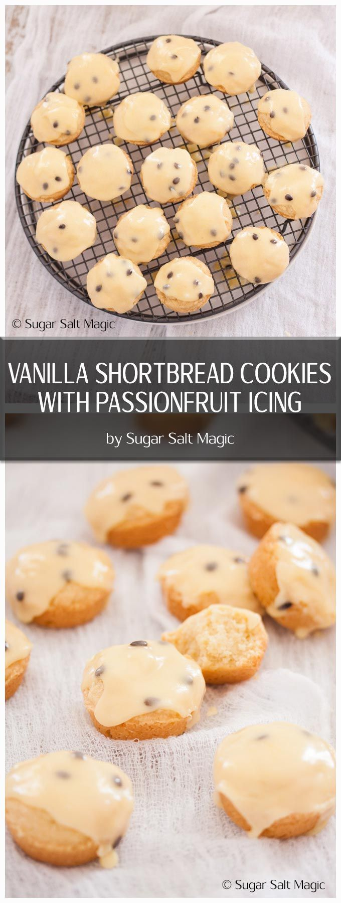 Seriously the best shortbread recipe ever turned into little Vanilla Shortbread Cookies are then topped with an easy Passionfruit Icing. via @sugarsaltmagic