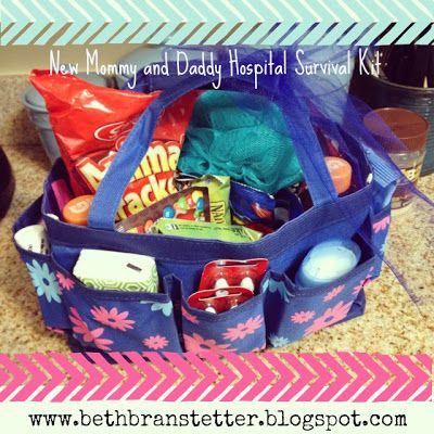 Hospital Survival Kit with a thirty-one bag! Such a cute idea!