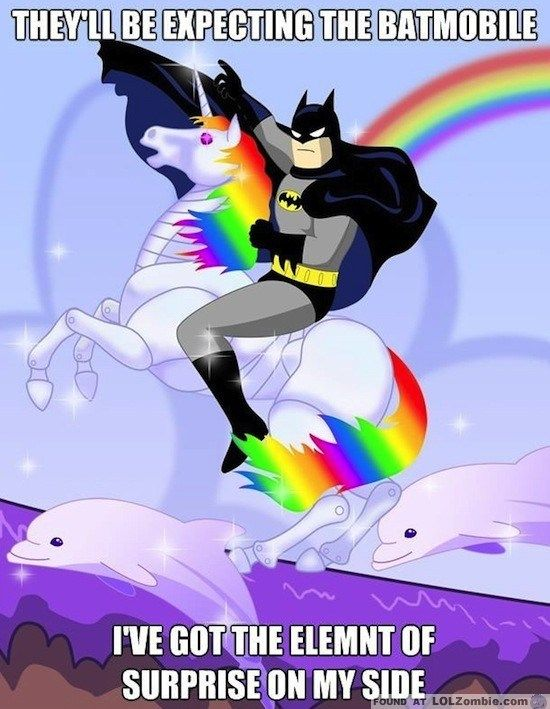 i love unicorns and rainbows and batman it could only get better if there was bacon, One Direction or both