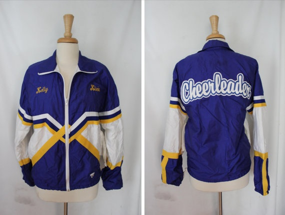 Vintage Blue and Yellow Cheer Jacket  Women's by RagandBonesFinds, $15.00