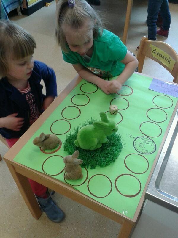 spel, wie is het eerst bij moeder konijn, haas of kip? maak een paar opdrachtjes om een beurt over te slaan of te wachten met behulp van pictogrammen