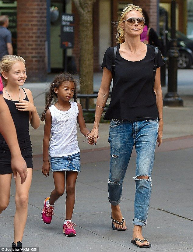 Back with her brood: Heidi Klum took her children out to dinner at Nobu in New York City's Tribeca neighbourhood on Tuesday
