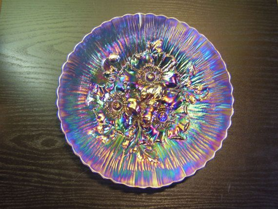 Northwood Carnival Glass Blue Poppy Show Plate by GriffsTreasures, $4000.00
