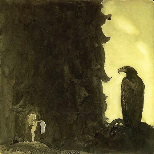 The Princess gave the eagle her petticoat as thanks for bringing her home.  John Bauer