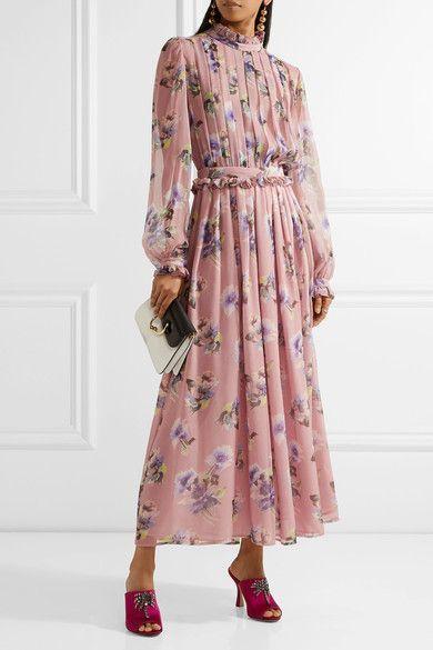 MSGM - Pleated Floral-print Silk-chiffon Gown - Pastel pink - IT38