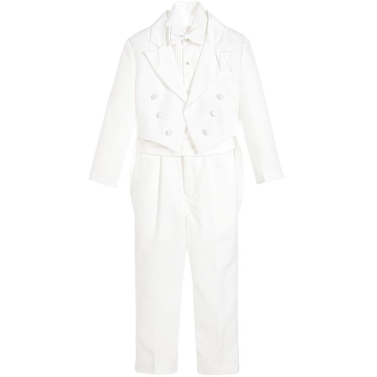 Boys ivory, special occasion five piece suit from the Sebastian range by Couche Tot. The jacket and trousers are made with a softly woven feel. It has satin tuxedo style trims on the jacket and trousers to match the velcro fastening cummerbund and elasticated bow tie. The jacket has tails and is designed not to fasten. The trousers have an elasticated waist, with a button and zip to fasten. It comes with a cotton blend shirt with pleats and buttons on front.