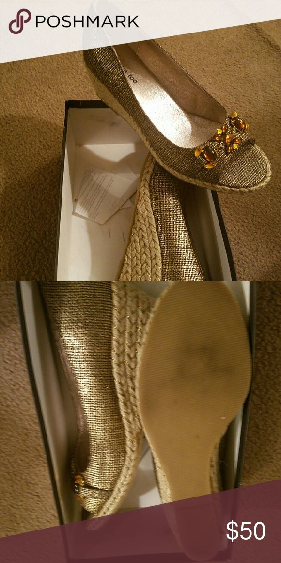 Gold Espadrilles These 2in gold Espadrilles are really gorgeous! They have accented stones with peekaboo toe.  Worn one time only for a few hours. Shoes Espadrilles