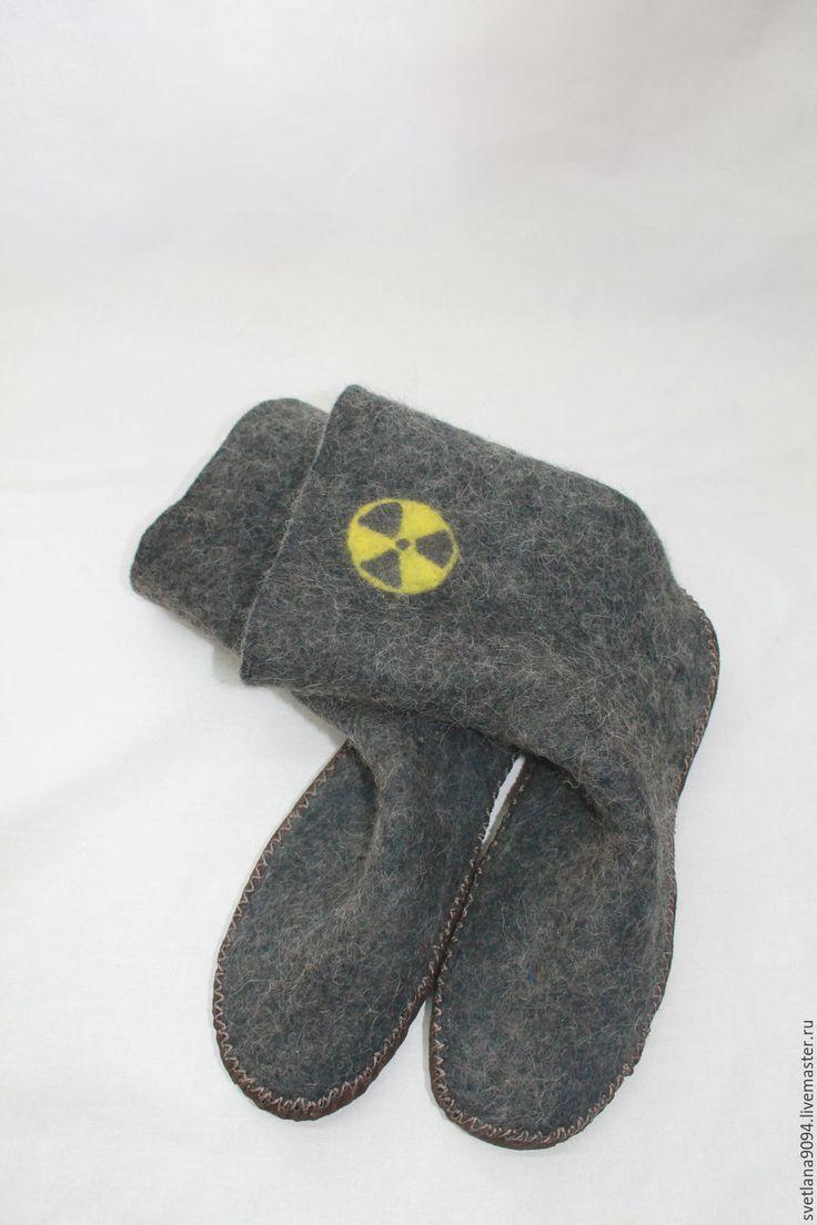 Купить Валяные мужские носки с собачьей шерстью. Войлочные носки и сапожки. - черный, рисунок
