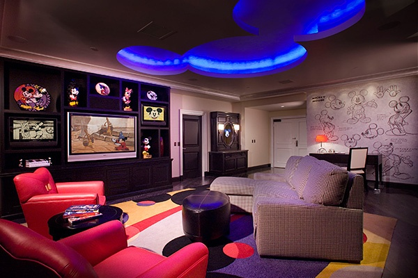 """Mickey Mouse Penthouse    Location: Disneyland Hotel, Anaheim, CA    For Walt Disney fans, this """"mouse pad"""" may be the ultimate draw. The 1,600-square-foot suite incorporates iconic Mickey imagery throughout, from cut-outs in the ceiling to lighting fixtures and bedding."""