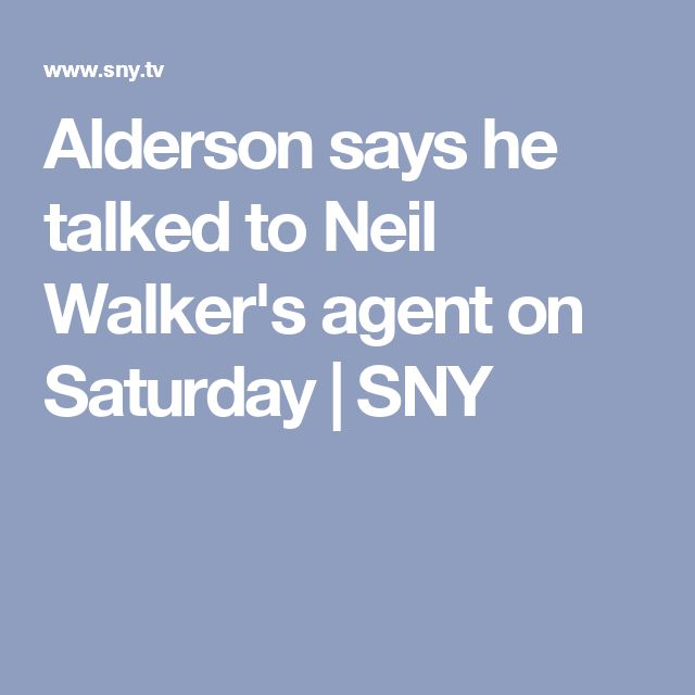 Alderson says he talked to Neil Walker's agent on Saturday | SNY