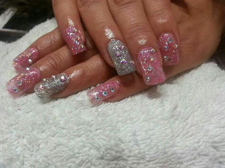 uas acrlicas rosa y plata