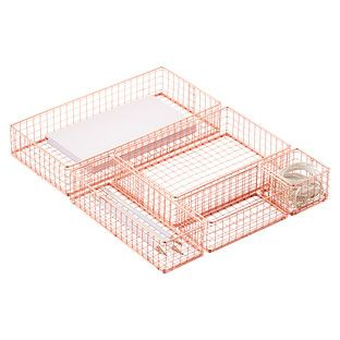 Copper Wire Drawer Organizers add a touch of style with their trending color and ability to store and organize with ease. They are sized to work both inside of a drawer as well as on top of a desk and are modular by design so you can cater your selection to your needs.