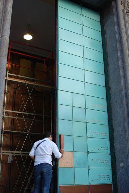 Portone di ingresso chiesa con cassette in rame trattate copper ox green 32 - Giuliano - Napoli