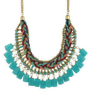 Loving this Turquoise Braided Bib Necklace on #zulily! #zulilyfinds