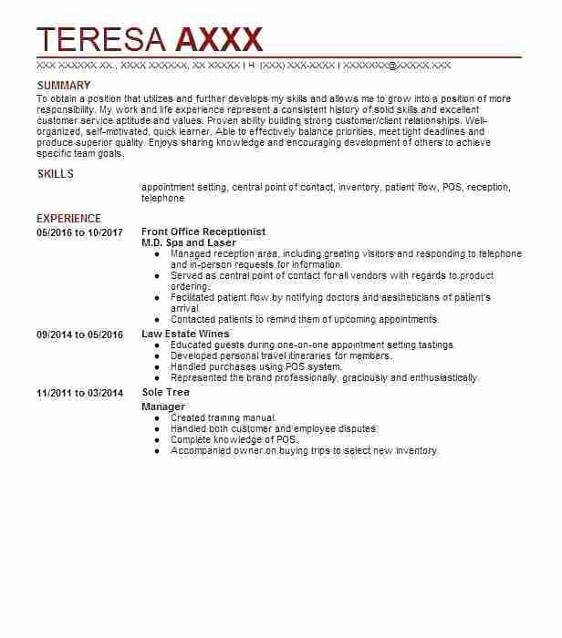 Example Of Receptionist Resume Front Office Receptionist Spa And Laser Example Of Resume Free Best Free Resume Templates Resume Template Professional Resume