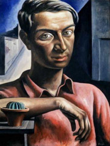 ANTONIO BERNI. AUTORRETRATO CON CACTUS, 1934