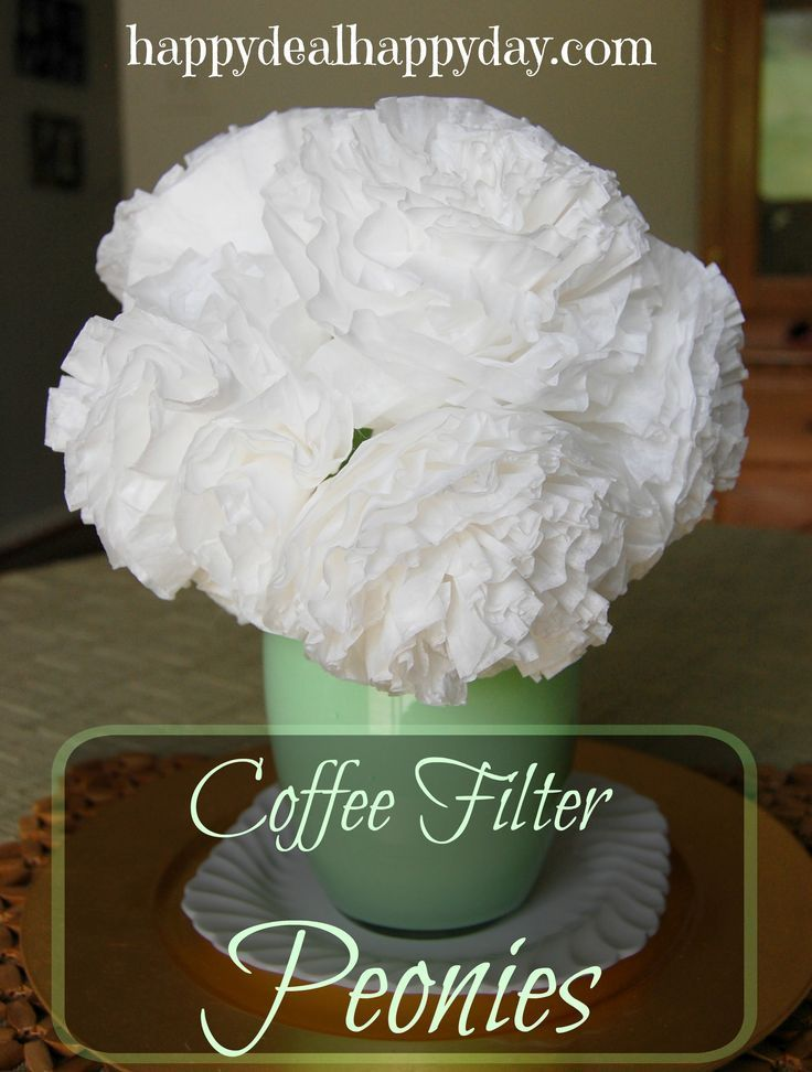 Here is an easy way to spruce up a room by making coffee filter peonies! It costs less than $5 to make! Supplies needed: Vase (can purcahse at Dollar Tree for $1) Paint – I used a free sample that I had on hand Coffee Filters (10 per peony you want to mak
