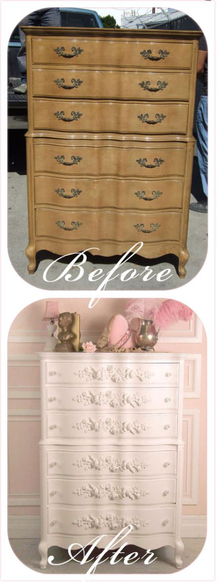 Appliques applied to this dresser, then painted. This post has some great pictures, showing furniture before & after appliques & paint.
