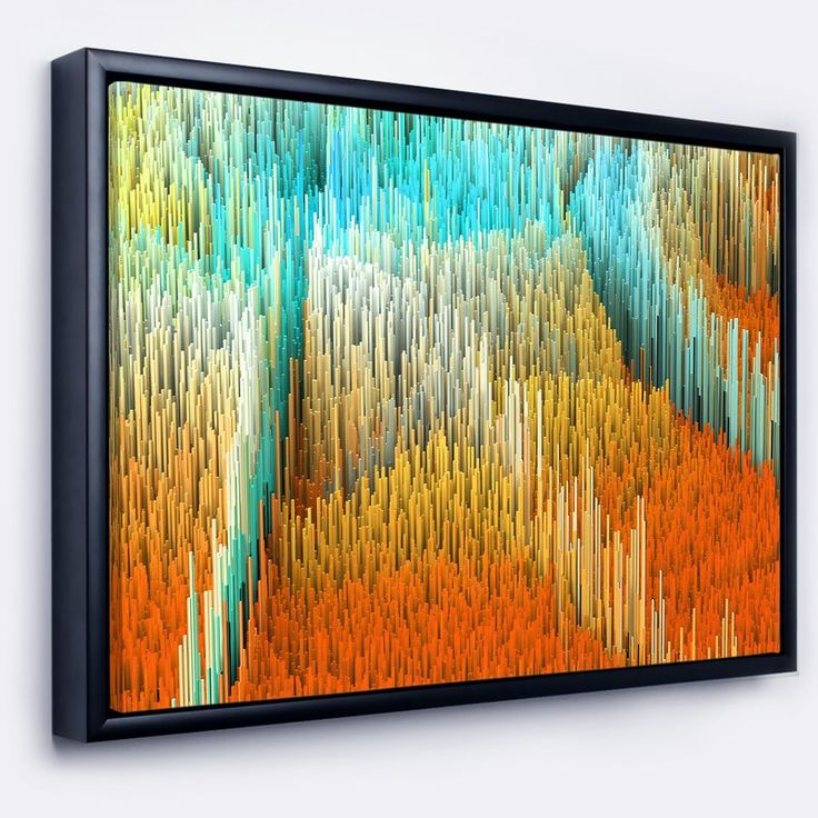 'Macro Render Structure Yellow Orange' Framed Graphic Art Print on Wrapped Canvas