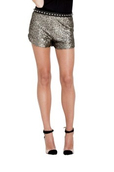 Stylestalker gold finger sequin shorts $139 | threads and style