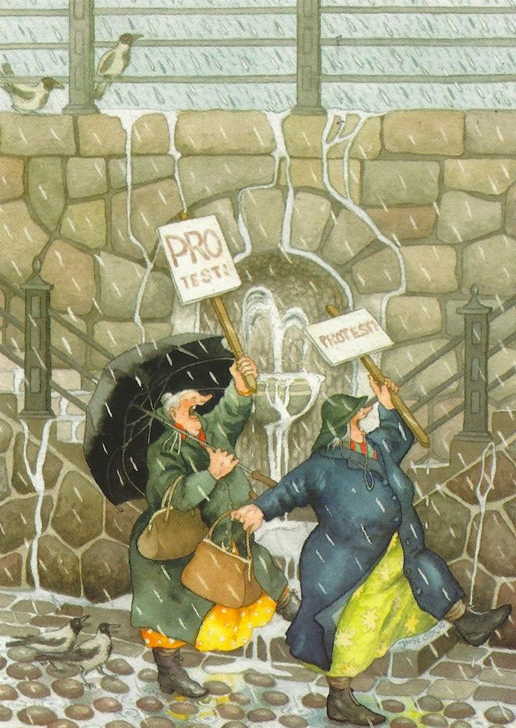 My Favorite Funny Postcards: Inge Look, Protesting the Rain