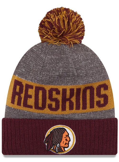 Keep warm in #Redskins style with this burgundy and gold, knit winter hat.