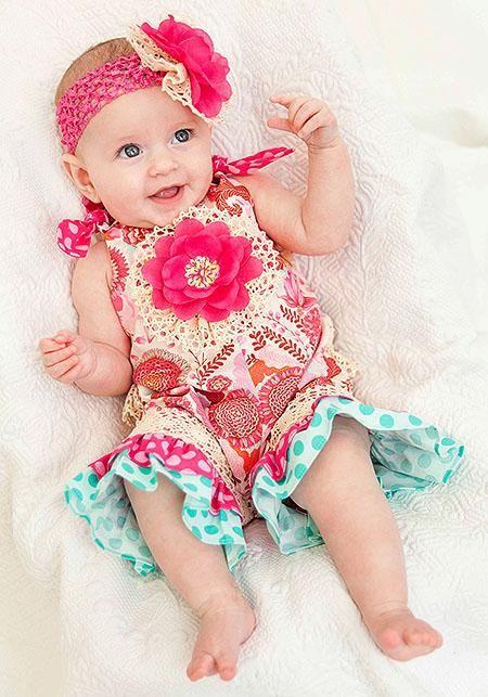 Peaches N Cream Pink Primrose Garden Romper Headband Baby S Sz