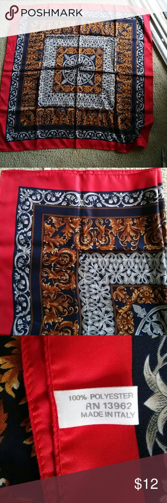 Nice Italian Scarf Beautiful details,  navy, red, silver n gold Accessories Scarves & Wraps
