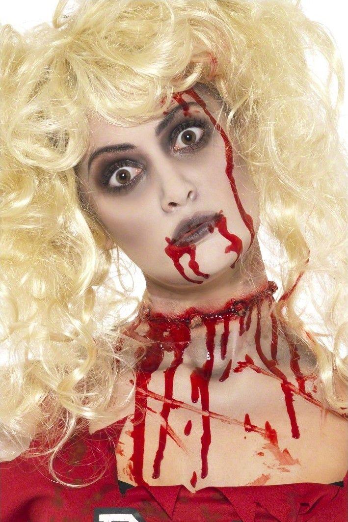 Kit de maquillaje de zombie adulto Halloween: Este kit de maquillaje adulto para mujer incluye paleta de 3 colores de 1,8 gramos (rojo, blanco y negro), 3 cápsulas de sangre falsa de 1,1 gramos, pincel y 2 esponjas.Completa tus disfraces...