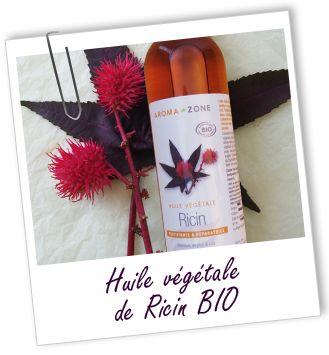 Huile végétale Ricin:  fortifie ongles, cheveux et cils (ajouter lors de la conception d'un mascara maison); parfaite pour soigner les cheveux secs, dévitalisés, fourchus, cassants ou crépus