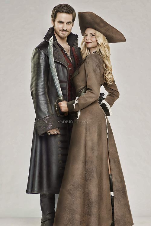 Emma Swan and Captain Hook - Once Upon a Time. Not sure I ship it yet but I love Emma's outfit!